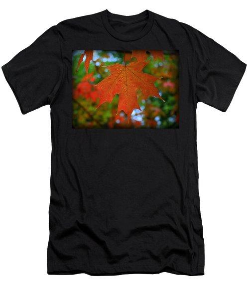 Autumn Leaf In The Rain Men's T-Shirt (Athletic Fit)