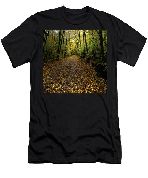 Men's T-Shirt (Slim Fit) featuring the photograph Autumn Leaves On The Trail by David Patterson