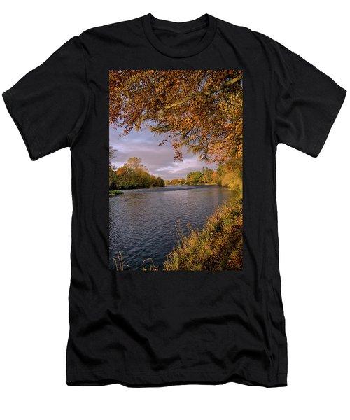 Autumn Light By The River Ness Men's T-Shirt (Slim Fit) by Jacqi Elmslie