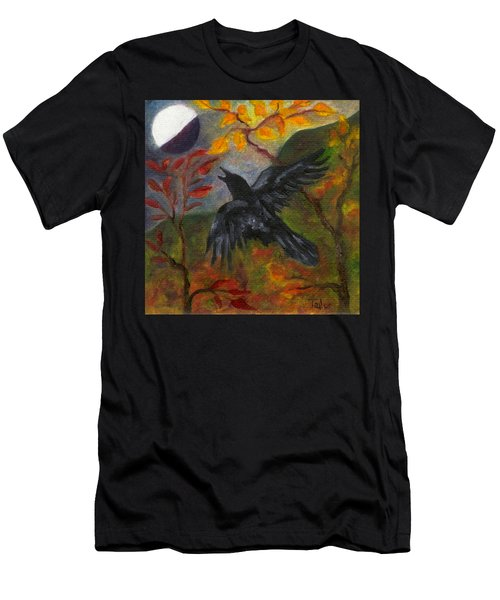 Autumn Moon Raven Men's T-Shirt (Athletic Fit)