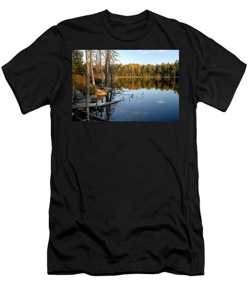 Autumn Reflections On Little Bass Lake Men's T-Shirt (Slim Fit) by Larry Ricker