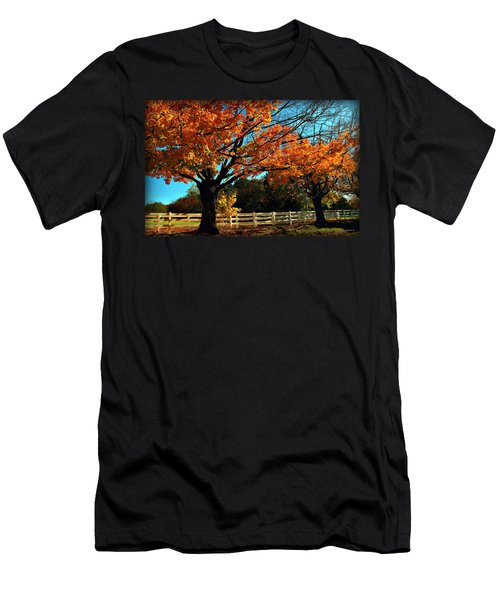 Men's T-Shirt (Slim Fit) featuring the photograph Autumn Rows by Joan  Minchak