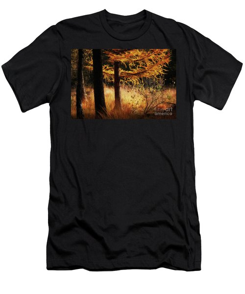 Men's T-Shirt (Athletic Fit) featuring the photograph Autumn Scene In A Dark Forest by Nick Biemans