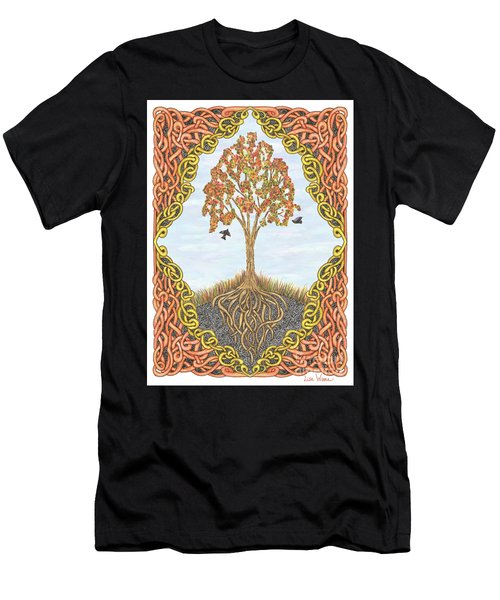 Men's T-Shirt (Athletic Fit) featuring the drawing Autumn Tree With Knotted Roots And Knotted Border by Lise Winne