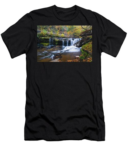 Men's T-Shirt (Slim Fit) featuring the photograph Autumn Waterfall by Steve Stuller