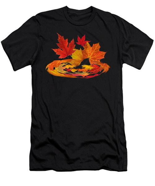 Autumn Winds - Colorful Leaves On Black Men's T-Shirt (Athletic Fit)