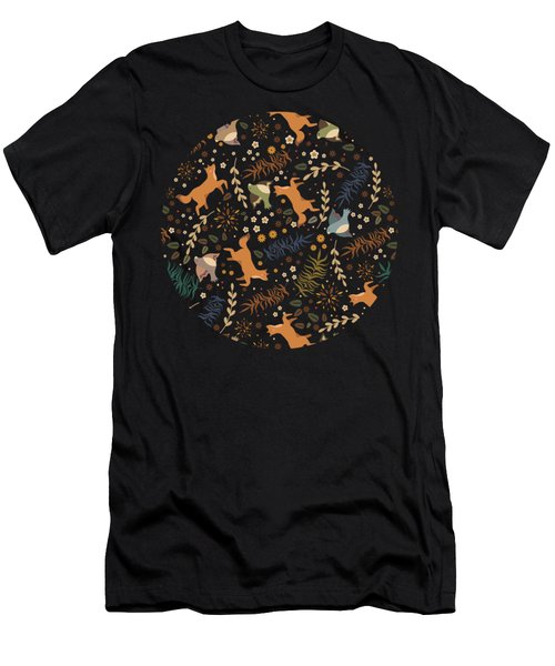 Autumn Woodsy Floral Forest Pattern With Foxes And Birds Men's T-Shirt (Athletic Fit)