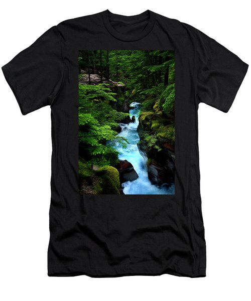 Avalanche Creek Waterfalls Men's T-Shirt (Athletic Fit)