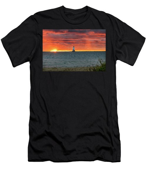 Awesome Sunset With Lighthouse  Men's T-Shirt (Athletic Fit)