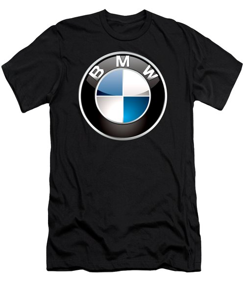 B M W  3 D Badge On Black Men's T-Shirt (Slim Fit) by Serge Averbukh