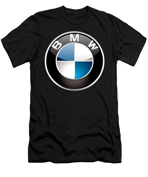 B M W  3 D Badge On Black Men's T-Shirt (Athletic Fit)
