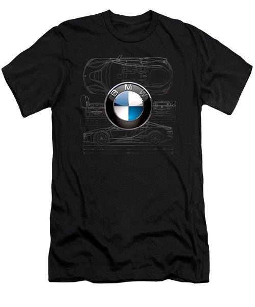 B M W  3 D  Badge Over B M W I8 Silver Blueprint On Black Special Edition Men's T-Shirt (Athletic Fit)