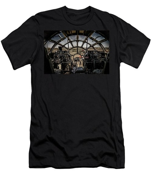 Men's T-Shirt (Athletic Fit) featuring the photograph B29 Superfortress Fifi Cockpit View by Chris Lord