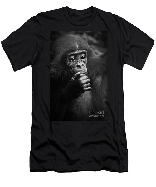 Men's T-Shirt (Slim Fit) featuring the photograph Baby Bonobo by Helga Koehrer-Wagner
