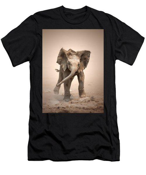 Baby Elephant Mock Charging Men's T-Shirt (Athletic Fit)