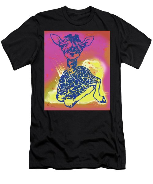 Baby Giraffe - Stylised Pop Art Poster Men's T-Shirt (Athletic Fit)