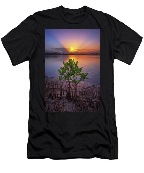 Men's T-Shirt (Slim Fit) featuring the photograph Baby Mangrove Sunset At Indian River State Park by Justin Kelefas