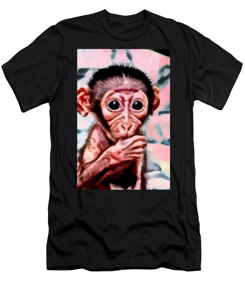 Baby Monkey Realistic Men's T-Shirt (Athletic Fit)