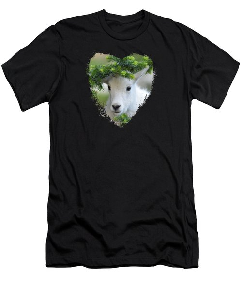 Baby Mountain Goat Heart Men's T-Shirt (Athletic Fit)