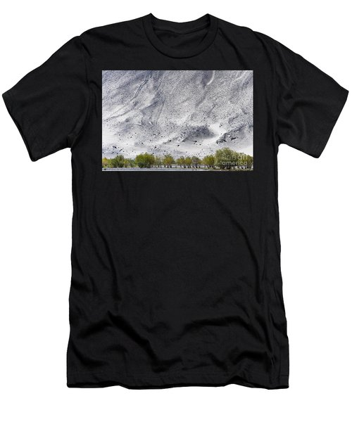 Men's T-Shirt (Athletic Fit) featuring the photograph Backdrop Of Sand, Chumathang, 2006 by Hitendra SINKAR