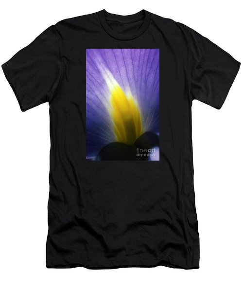 Backlit Iris Flower Petal Close Up Purple And Yellow Men's T-Shirt (Athletic Fit)