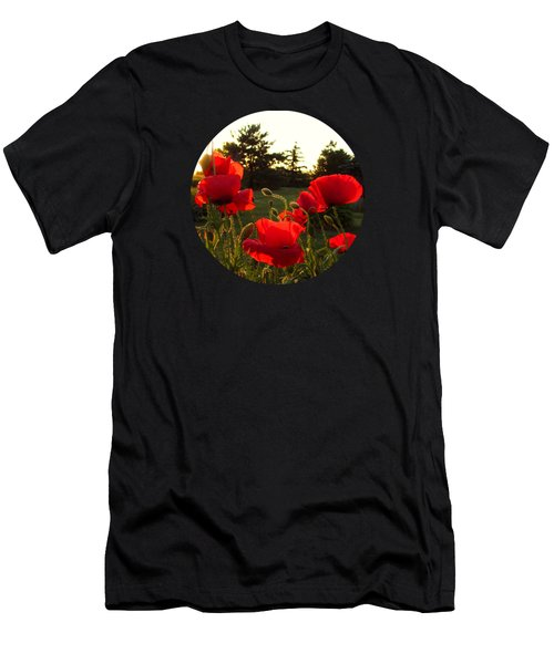 Backlit Red Poppies Men's T-Shirt (Athletic Fit)