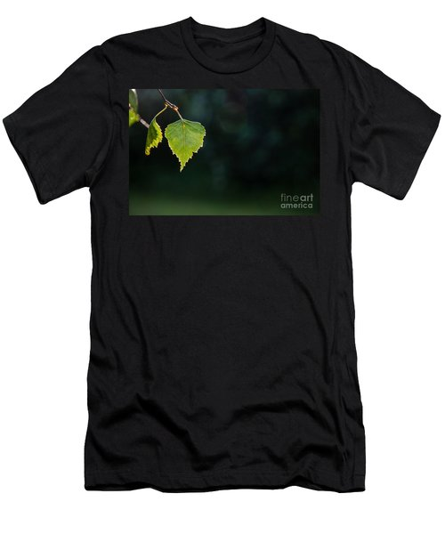 Men's T-Shirt (Slim Fit) featuring the photograph Backlit Shiny Leaf by Kennerth and Birgitta Kullman