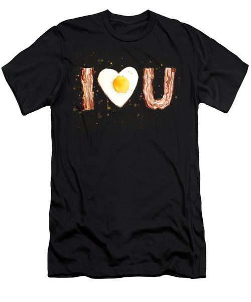 Bacon And Egg I Heart You Watercolor Men's T-Shirt (Athletic Fit)
