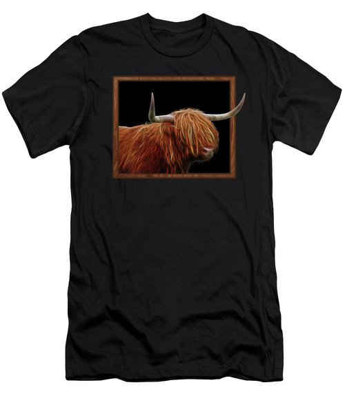 Bad Hair Day - Highland Cow - On Black Men's T-Shirt (Athletic Fit)