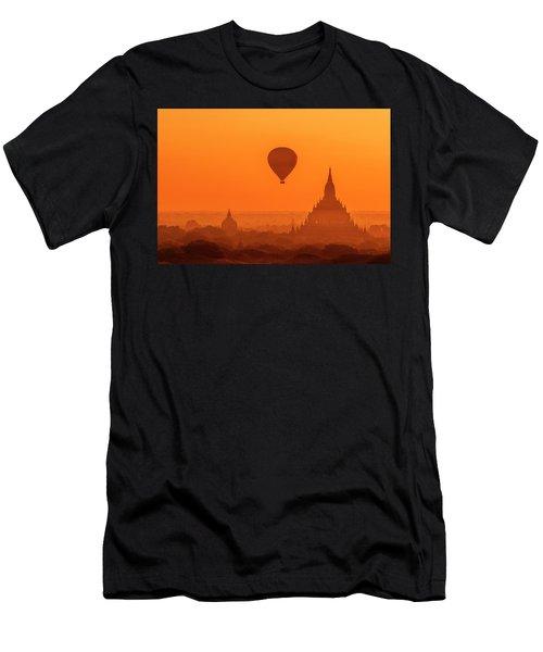 Men's T-Shirt (Athletic Fit) featuring the photograph Bagan Pagodas And Hot Air Balloon by Pradeep Raja Prints