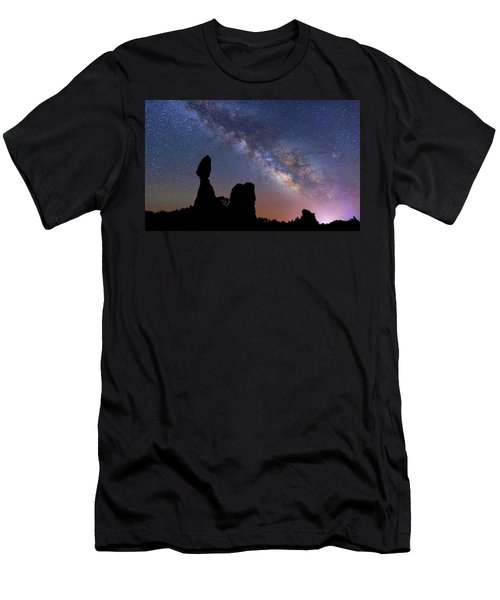Men's T-Shirt (Athletic Fit) featuring the photograph Balanced Rock Milky Way by Darren White