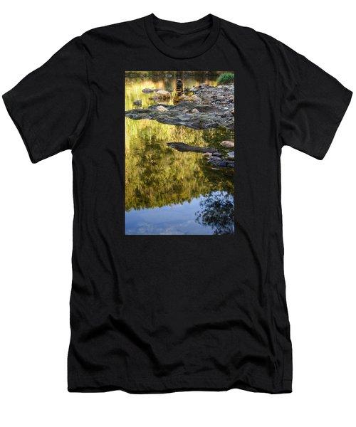 Balancing Zen Stones In Countryside River Ix Men's T-Shirt (Athletic Fit)