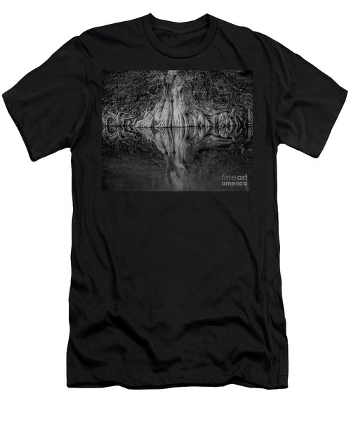 Bald Cypress Reflection In Black And White Men's T-Shirt (Athletic Fit)