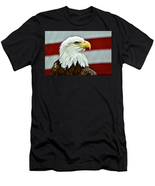 Bald Eagle And Old Glory Men's T-Shirt (Athletic Fit)