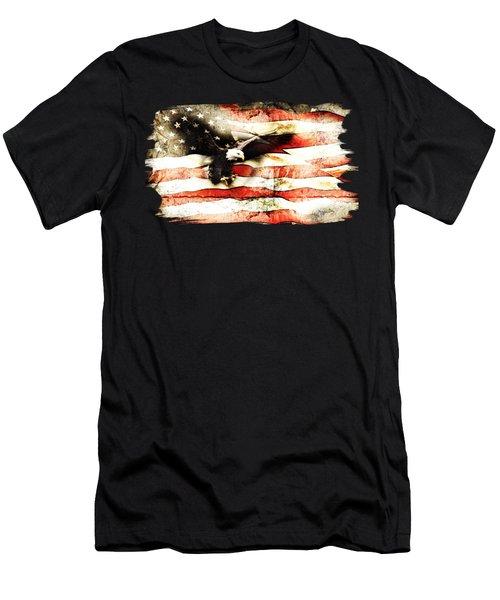 Bald Eagle Bursting Thru Flag Men's T-Shirt (Athletic Fit)