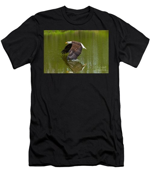 Bald Eagle In Low Flight Over A Lake Men's T-Shirt (Athletic Fit)