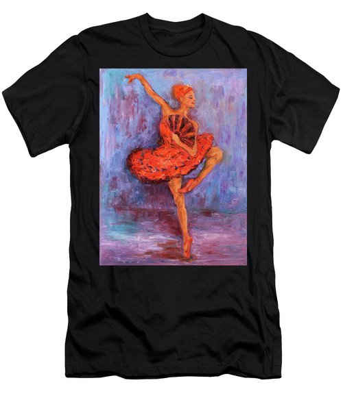 Ballerina Dancing With A Fan Men's T-Shirt (Athletic Fit)
