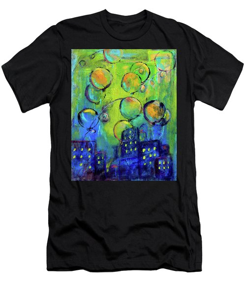 Cheerful Balloons Over City Men's T-Shirt (Athletic Fit)
