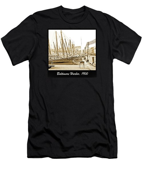 Men's T-Shirt (Slim Fit) featuring the photograph Baltimore Harbor 1900 Vintage Photograph by A Gurmankin