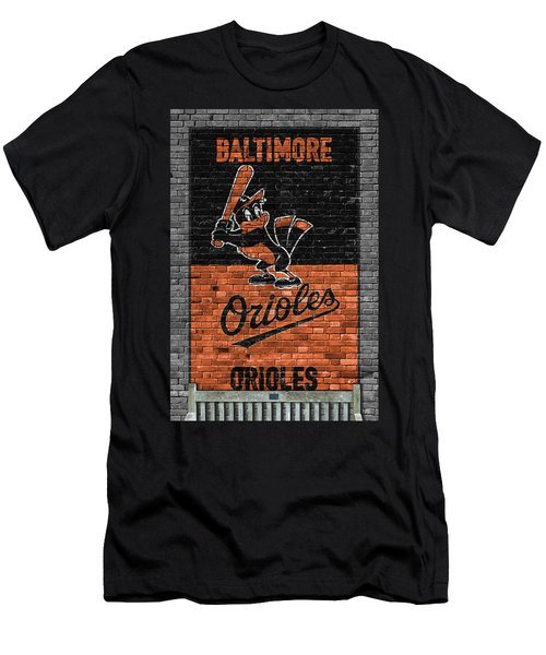 Baltimore Orioles Brick Wall Men's T-Shirt (Slim Fit) by Joe Hamilton