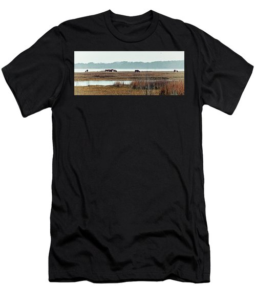 Band Of Wild Horses Along Sinepuxent Bay Men's T-Shirt (Athletic Fit)