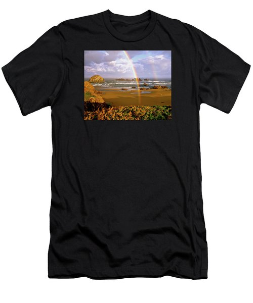 Bandon Beach Rainbow Sunrise Men's T-Shirt (Athletic Fit)