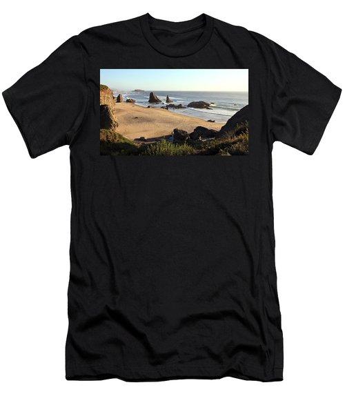 Bandon Beachfront Men's T-Shirt (Slim Fit) by Athena Mckinzie