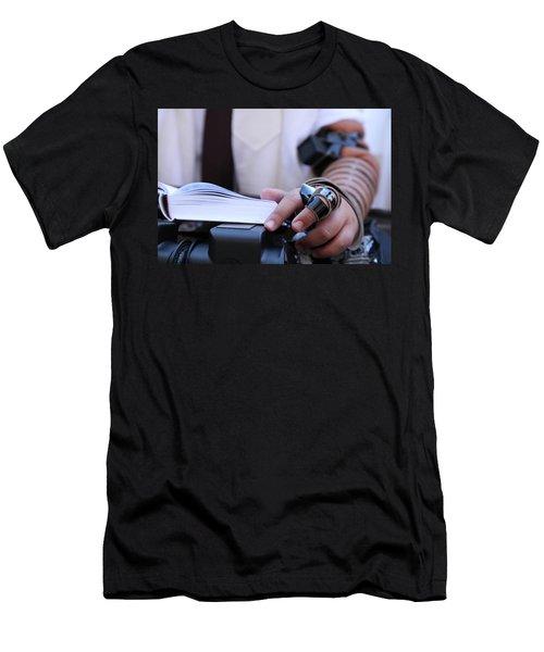 Bar Mitzvah Celebration With Tefillin  Men's T-Shirt (Slim Fit) by Yoel Koskas