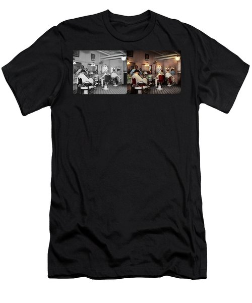 Men's T-Shirt (Slim Fit) featuring the photograph Barber - Senators-only Barbershop 1937 - Side By Side by Mike Savad