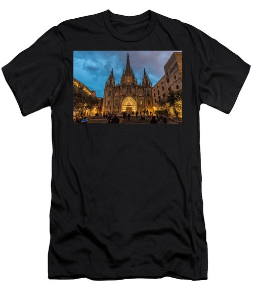 Barcelona Cathedral At Dusk Men's T-Shirt (Athletic Fit)