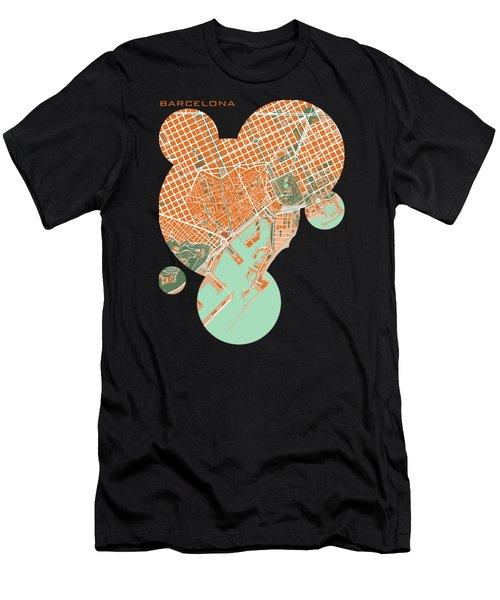 Barcelona Orange Men's T-Shirt (Athletic Fit)