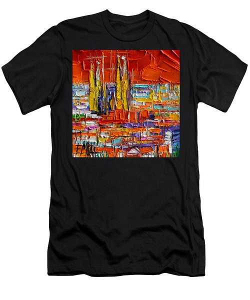 Barcelona Sagrada Familia View From Parc Guell Abstract Palette Knife Oil Painting Men's T-Shirt (Athletic Fit)