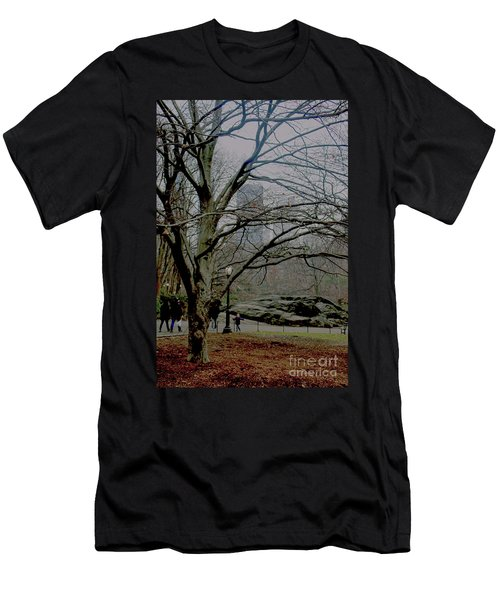 Bare Tree On Walking Path Men's T-Shirt (Slim Fit) by Sandy Moulder