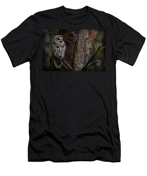 Men's T-Shirt (Slim Fit) featuring the photograph Barred Owl In Pine Tree by Michael Cummings